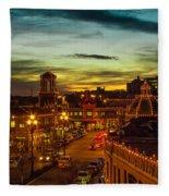 Plaza Lights At Sunset Fleece Blanket