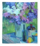 Plein Air Lilacs Fleece Blanket