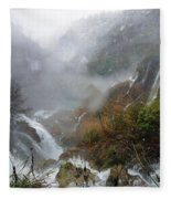 Plitvice Lakes In Winter 4 Fleece Blanket