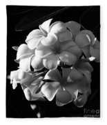 Plumeria Black White Fleece Blanket