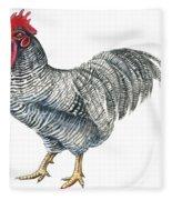 Plymouth Rock Rooster  Fleece Blanket
