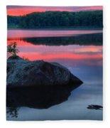 Poconos Lake Whitney Sunset Silhouette Fleece Blanket