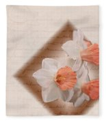 Poem Of Peach Daffodils Fleece Blanket