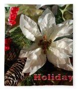 Poinsetta Christmas Card Fleece Blanket