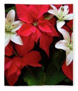 Poinsettia And Lilies Fleece Blanket