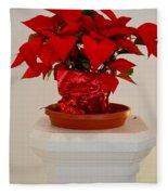 Poinsettia On A Pedestal No 1 Fleece Blanket
