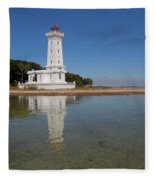 Point Abino Lighthouse Reflection Fleece Blanket