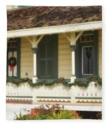 Point Fermin Lighthouse Christmas Porch Fleece Blanket