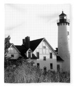 Point Iroquois Lighthouse In B/w Fleece Blanket
