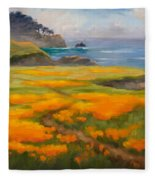 Point Lobos Poppies Fleece Blanket