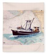 Point Loma Trawl Fishing Boat Nautical Chart Map Art Fleece Blanket