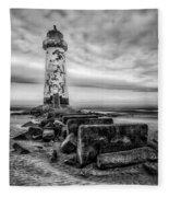 Point Of Ayre Lighthouse Fleece Blanket