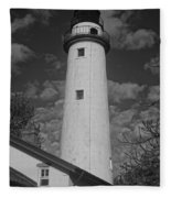 Pointe Aux Barques Lighthouse Black And White Fleece Blanket