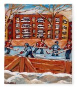 Pointe St. Charles Hockey Rink Southwest Montreal Winter City Scenes Paintings Fleece Blanket