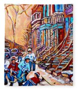 Pointe St.charles Hockey Game Near Winding Staircases Montreal Winter City Scenes Fleece Blanket