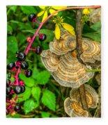 Poke And Bracket Fungi Fleece Blanket