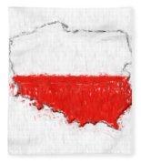 Poland Painted Flag Map Fleece Blanket