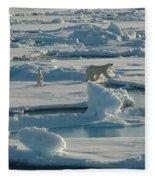 Polar Bear And Her Cub Fleece Blanket