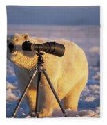Polar Bear Investigating Photographers Fleece Blanket