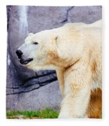 Polar Bear Walking Fleece Blanket