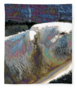Polar Bear With Enameled Effect Fleece Blanket