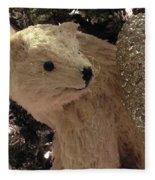 Polar Bear With Ornaments Fleece Blanket