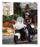 Police - Motorcycle Cop On Patrol Fleece Blanket