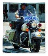 Police - Motorcycle Cop Fleece Blanket