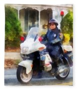 Police - Suburban Motorcycle Cop Fleece Blanket