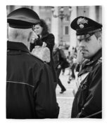Policemen In Rome Fleece Blanket