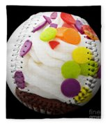 Polka Dot Cupcake Baseball Square Fleece Blanket