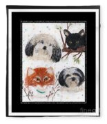 Polka Dot Family Pets With Borders - Whimsical Art Fleece Blanket
