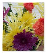 Polka Dot Mums And Carnations Fleece Blanket