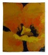 Polka Dot Yellow Blooming Tulip Fleece Blanket