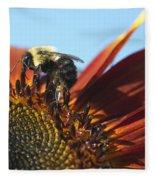 Pollinating Sunflower Seeds Fleece Blanket