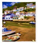 Polperro At Low Tide Fleece Blanket