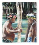 Polynesian Men With Spears Fleece Blanket