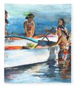 Polynesian Vahines Around Canoe Fleece Blanket