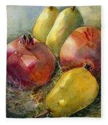 Pomegranates And Pears Fleece Blanket