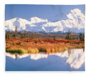Pond, Alaska Range, Denali National Fleece Blanket