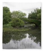 Pond And Bridge Fleece Blanket