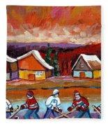 Pond Hockey Game 2 Fleece Blanket