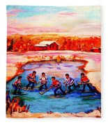 Pond Hockey Game By Montreal Hockey Artist Carole Spandau Fleece Blanket