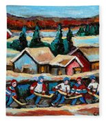 Pond Hockey Game In The Country Fleece Blanket