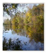 Pond Reflection At Limehouse Ontario Fleece Blanket