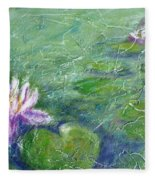 Green Pond With Water Lily Fleece Blanket