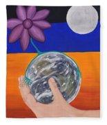 Pondering Creation Hand And Globe Fleece Blanket