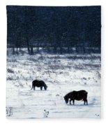 Ponies In The Snow Fleece Blanket