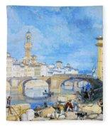 Ponte Santa Trinitia Florence Fleece Blanket