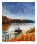 Pontoon Boat Photo Art 02 Fleece Blanket